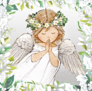 """St Ann's Hospice Foiled Silver Xmas Cards """"Mistletoe Angel"""" (x10 Cards)"""
