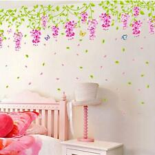 Wedding Bedroom Decor Decal Wisteria Flower Butterfly Lively Wall Sticker Paper