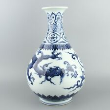 Chinese Antique Collection Blue And White Porcelain Dragon Vase