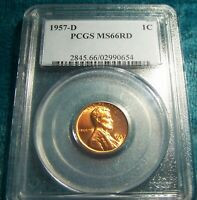 1957 D Lincoln Wheat Cent PCGS MS 66 RD