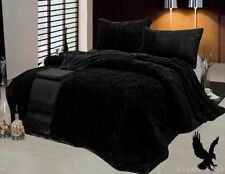 3 Piece Fur Long Pile Black Plush Super Soft Sherpa Blanket King Size 6lbs