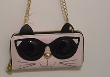 Betsy Johnson Pink Cat With Sunglasses Wallet/Clutch With Golden Chain