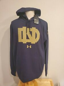 New Under Armour Notre Dame Mens CG Knute Rockne Hoodie Navy Size 3XL