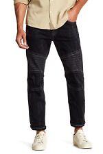 AUTHENTIC $249 True Religion 38/34 Skinny Moto Stitch Jeans Mens Nightmare Black