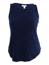 Charter Club 2794 Size Large L Womens Blue Lace Tank Top Pullover