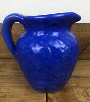 Handmade Blue Painted Clay Pottery Glazed Pitcher With Handle