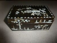 ANTIQUE CHINESE WOOD BOX MOTHER OF PEARL INLAID c.19TH C.