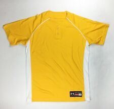 Under Armour Performance 2 Button Henley Baseball Jersey Men's Large Yellow