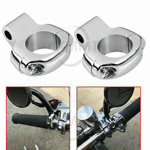 Pair Chrome Handlebar Mirror Mount Holder Clamp Harley softail roadking flh flht