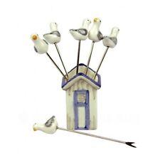 Seagull olive fourchettes en beach hut holder - 6 x cocktail sticks - 1st classe post!