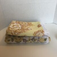 TWO VTG Brand Yellow, Brown floral bath towels (St. Mary's and Unbranded)