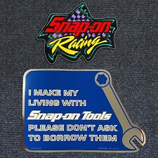 "Snap-on Sticker Decal ""I Make My Living..."" & Snap-on racing sticker 4.5""x3.5"""
