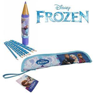 Kids Disney Frozen 2 Elsa & Anna Long Pencil Case Colour Pencil Set School Girls