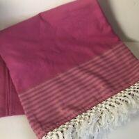 lilly pulitzer For Target Beach Blanket Throw Pink Stripe Fringe Trim Picnic Euc