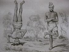 1834 Voyage autour du monde de M. d'Urville 4 gravures double feuille Inde