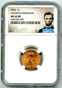 2000 US MINT CENT CHEERIOS PROMOTION CLOSE 'AM' NGC MS64 RD LINCOLN PENNY W/ OGP