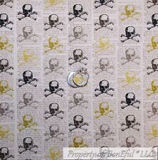 BonEful Fabric Cotton Quilt Black White B&W Gold Skull Skeleton Newspaper SCRAP