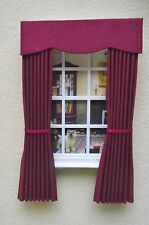 MINIATURE  DOLL HOUSE 12TH SCALE CURTAINS DRAPES PLAIN BURGUNDY 7 1/2 IN LONG