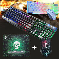 USB Wired Gaming Keyboard and Mouse Set w/ Rainbow LED Backlight for PC Computer