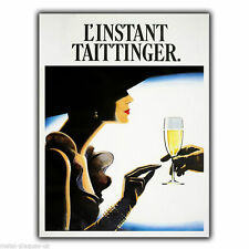 L'INSTANT TAITTINGER champagne Advert METAL SIGN WALL PLAQUE art picture print
