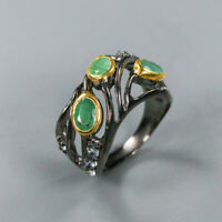Vintage Natural Emerald 925 Sterling Silver Ring Size 7/R124105