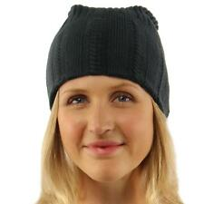 Winter 2ply Open Cable Tight Knit Slouchy Long Beanie Skull Ski Hat Charcoal S