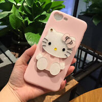 3D Cute Hello Kitty Cartoon Mirror Gift Silicone Case Cover Back Skin For iPhone