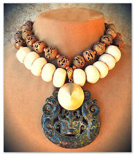 Statement Necklace Pendant Dk Brown Carved JADE African Handcarved Beads Gold