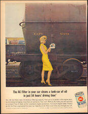 Vintage ad for AC Oil Filter`sexy model Yellow dress gloves train  (052318)