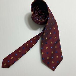 Brooks Brothers Makers Tie Pure Silk Plain Burgundy Red Woven Silk Paisley