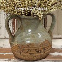 "New Primitive Farmhouse Rustic AGED BLUE CROCK WITH HANDLES Jug Urn Vase Jar 7"""