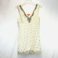 HALE BOB Dress Large Cream Lace  & Rhinestones Fully Lined 5% Stretch