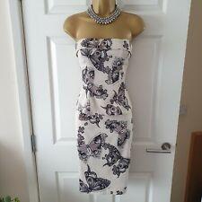 Ladies Karen Millen Beige Butterfly Print Stretch Skirt Size 8 + Top Size 12 UK
