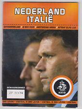 Programme / Programma Holland v Italy 15-11-2005 friendly