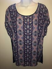 BELLA D Size L Large Navy Multi-Color Print Tunic Top Cap Sleeves NWT