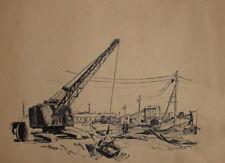 Vintage ink drawing crane digger