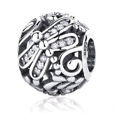 Authentic 925Sterling Sliver Bead Charm Micro-pave Dragonfly with flower Crystal