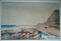 FREDERICK W WAUGH-Watercolor Painting-Beach And Rocky Shore-1903