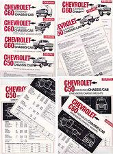 Four 1976 CHEVROLET TRUCK Australian GMH Spec Sheets C50 & C60 CHASSIS/CAB