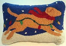 Yellow Labrador Retriever Dog Christmas Mini Hooked Wool Pillow – 8� x 12�