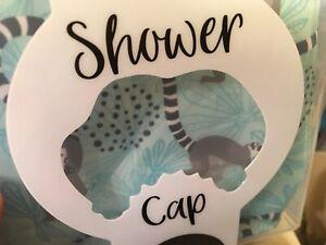 SLOTH Teal Blue Luxury Shower Cap Bonnet No Frizz Saves Blowout Drainable Case