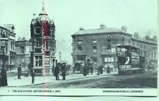 Steam Tram Old Clock Aston Cross Birmingham c1893 repro photo postcard