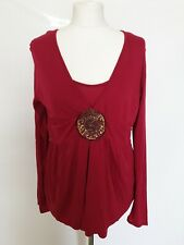 Monsoon Top 2 in 1 Pink Cranberry V neck Long Sleeve Sequins Casual Work UK 14