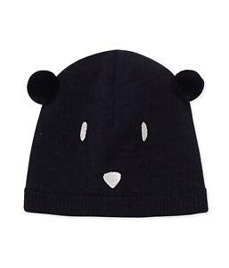 Petit Bateau Baby Mütze Strickmütze Bär mit Ohren und Gesicht blau 3-36 Monate
