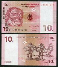 Congo DR 10 centimes 1997.11.01. Pende Mask & Dancers P82 UNC