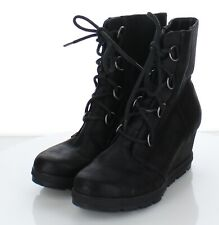 87-48 $90 Women Sz 8 M Sorel Nellie Leather Lace Up Wedge Boots In Black