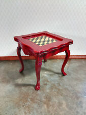 Dollhouse Miniature Chess Game Table with Chess Pieces 1:12 Mahogany Finish