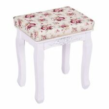 White Cushioned Vanity Stool Bench Beautiful Wooden Rose Pattern Piano Seat NEW