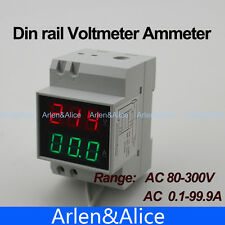 Din rail Dual LED Voltage and current meter voltmeter ammeter 80-300V 0-100A