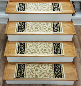 "Rug Depot Set of 13 European Wool Non Slip Carpet Stair Treads 26"" x 9"" Ivory"
